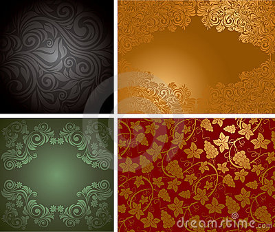 Vintage ornate background set