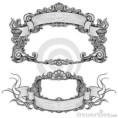 Vintage ornate frames with scroll