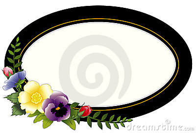 Vintage Oval Frame with Pansies & Roses