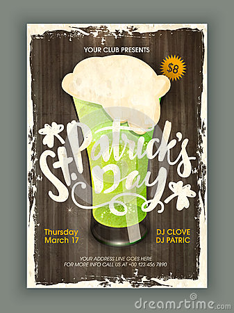 Free Vintage Pamphlet, Banner Or Flyer For Patrick S Day. Stock Photos - 66067073