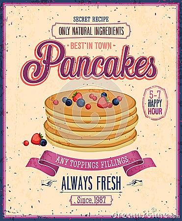 Free Vintage Pancakes Poster. Stock Images - 33212684