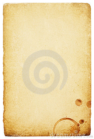 Vintage paper with coffee rings stain.