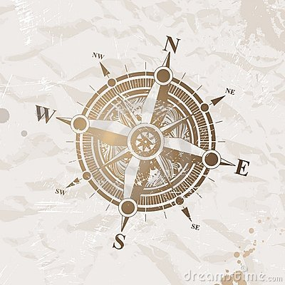 Vintage paper with compass rose