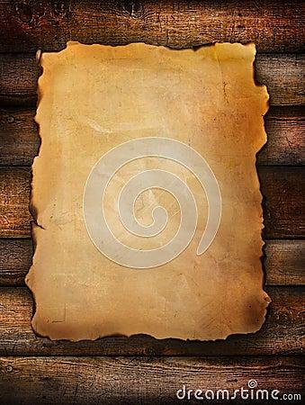 Vintage paper on distressed wood