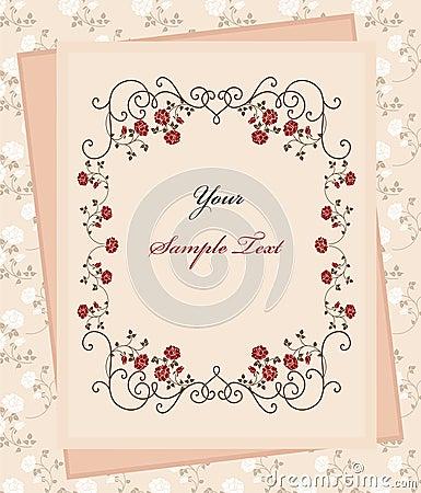 Vintage paper over floral background