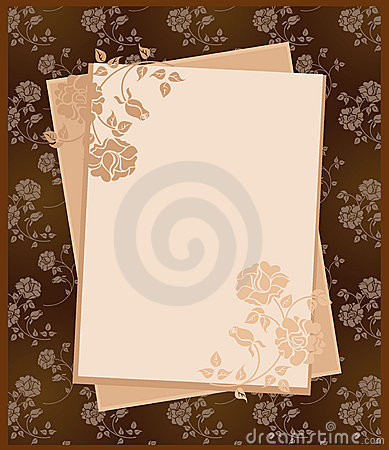Vintage paper over floral background