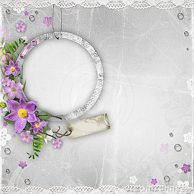 Vintage paper photo frame with spring flowers