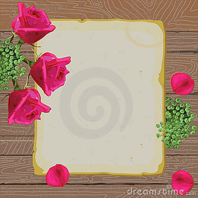Vintage paper and roses love letter