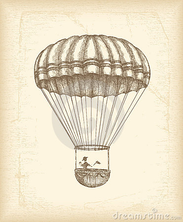 Free Vintage Parachute Sketch Royalty Free Stock Photography - 18009287