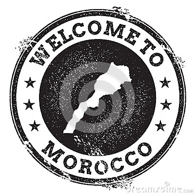 Free Vintage Passport Welcome Stamp With Morocco Map. Stock Photos - 92623253