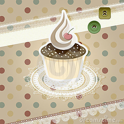 Vintage pattern with cupcake