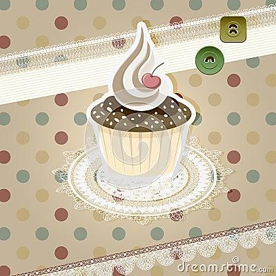 Vintage pattern with cupcake
