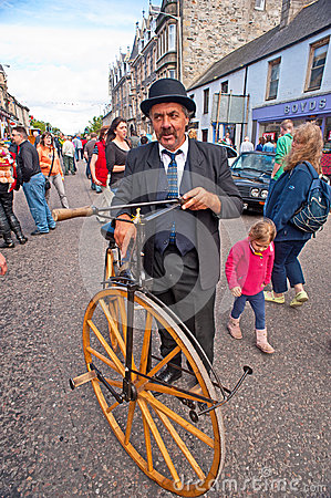 Vintage pedal bike at Grantown-on-Spey Editorial Stock Photo