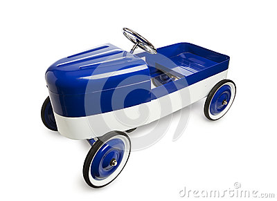 Vintage pedal car toy  on white