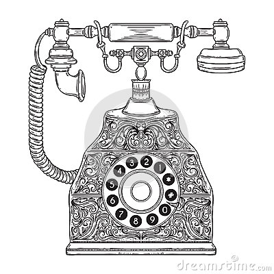 Free Vintage Phone With Floral Ornament. Royalty Free Stock Images - 77286739