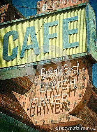 Vintage photo of cafe sign