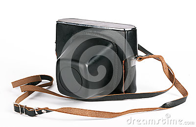 Vintage photo camera in case