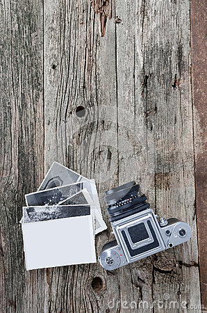 Vintage photo camera and photos