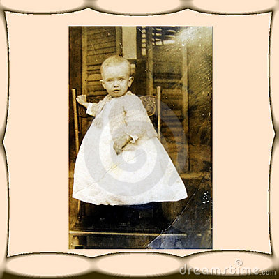Vintage Photo, Child in Chair