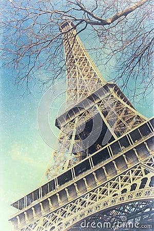 Vintage photo of Eiffel Tower