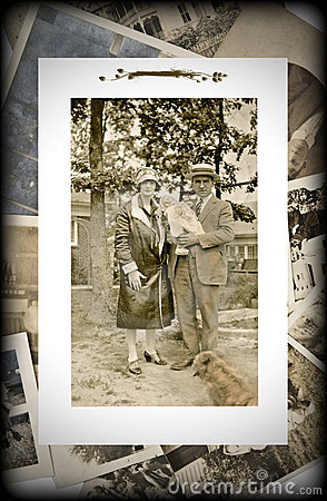 Vintage Photo of Family with Baby
