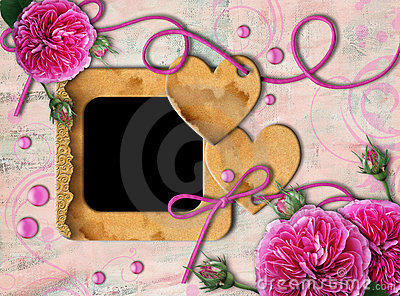 Vintage photo frame, pink roses and heart
