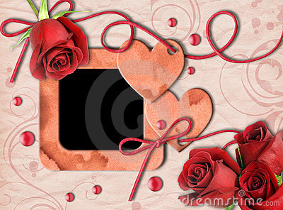 Vintage photo frame, red roses and heart