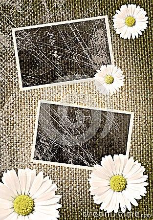 Vintage photo frames over sack background