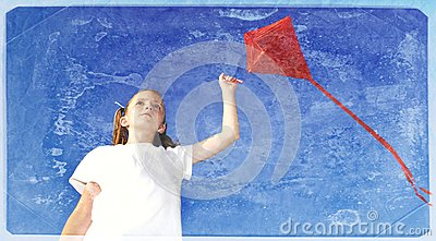 Vintage Photo of Girl Flying a Kite