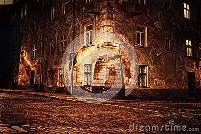 Old European town at night