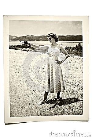 Vintage Photo Woman with Gun