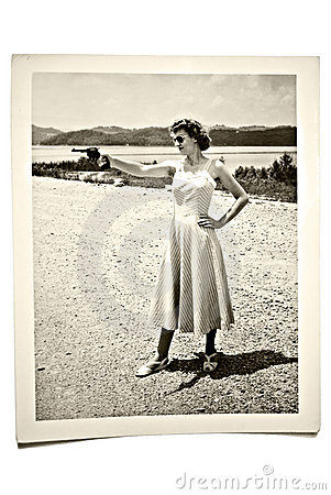 Free Vintage Photo Woman With Gun Royalty Free Stock Images - 11015019