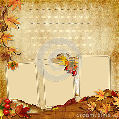 Vintage photoframes with autumn leaves