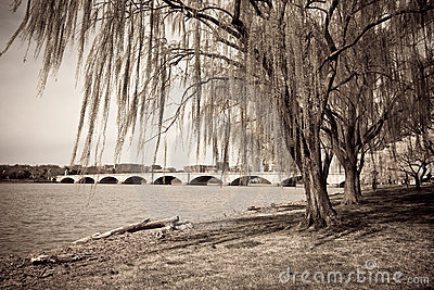 Vintage photograph of bridge in Washington DC