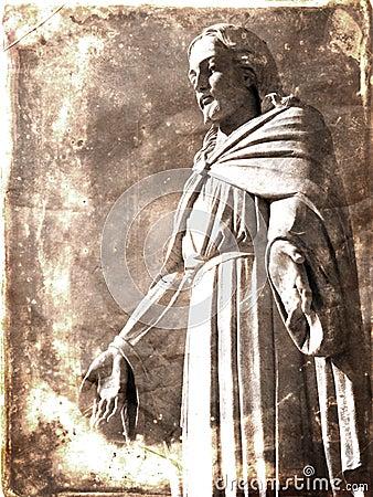 Vintage Photograph of Statue of Jesus Christ