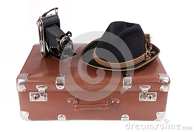 Vintage photography camera with traditional Bavarian hat