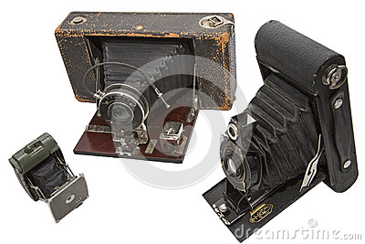 Vintage photography film cameras isolated