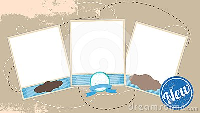 Vintage photos composition vector illustration
