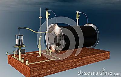 Vintage Physics Ruhmkorff Inductor Stock Illustration