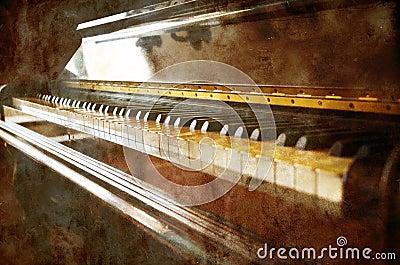Vintage piano on grunge