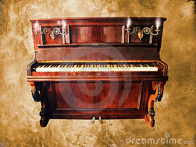 Vintage piano on grunge