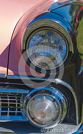 Vintage Pink American Car Headlights