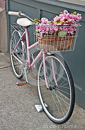 Vintage Pink Bicycle With Pink Flowers Royalty Free Stock