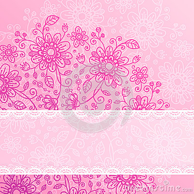 Vintage pink flowers background with lacy ribbon