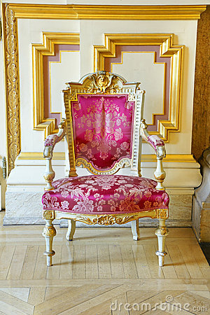 Vintage pink silk and gold frame chair