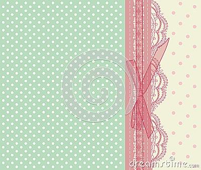 Vintage pink wedding card vector