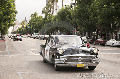 Vintage Police Car Parade in Hollywood Editorial Stock Image