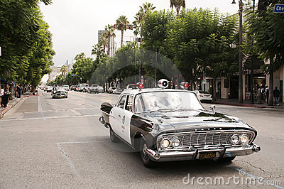 Vintage Police Car Parade in Hollywood Editorial Photo