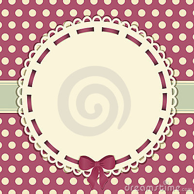 Vintage polka dot background with ribbon