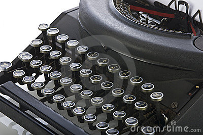 Vintage portable typewriter close up on keys